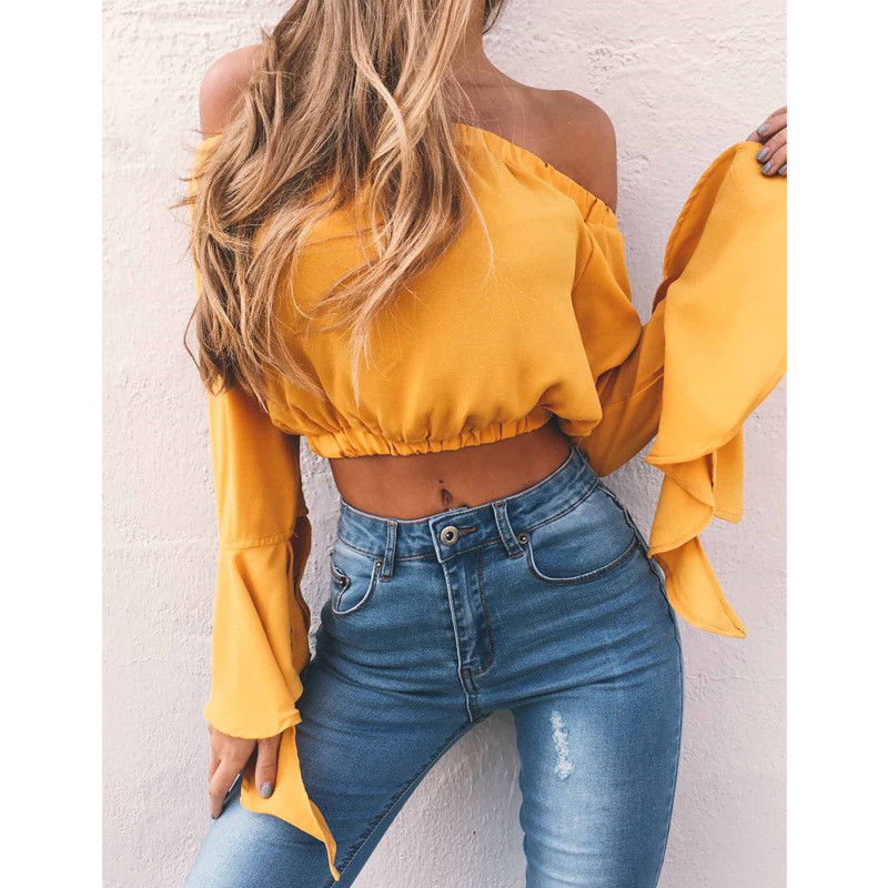10pcs/lot 2017 Fashion Women's Sexy Off Shoulder Flare Sleeve Tops Summer Casual Loose Tops T-shirt S-XL 7 Colors
