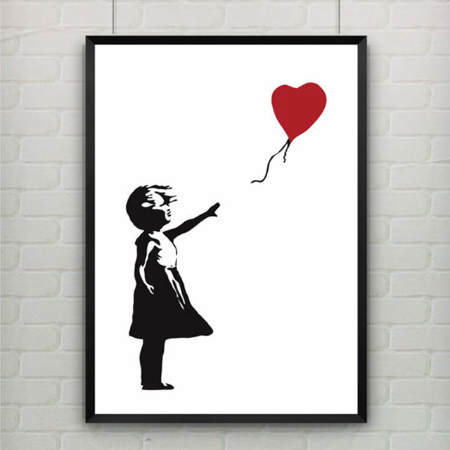 free shipment banksys online shop girl with balloon art picture paint on canvas painting no frame