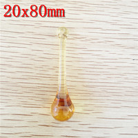 14pcs Lot Topaz 20x80mm Crystal Glass Raindrop Pendant Chandelier Parts Glass Chandelier Prism Hanging Home Decoration