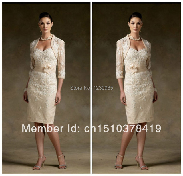 New Stock champagne Lace Mother of the Bride dresses outfit size 6 8 10 12 14 16 Free Shipping Dress Hot Sale Gown