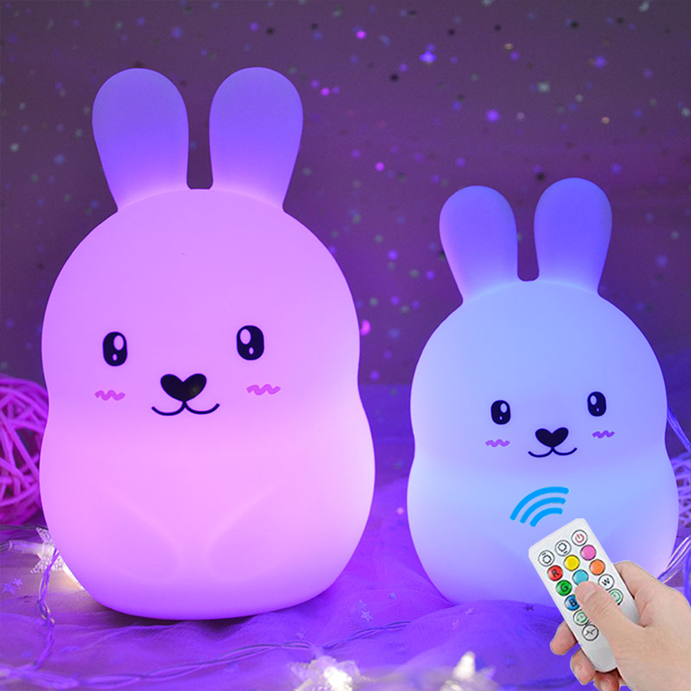 Rabbit LED Night Light Remote Control Timing Touch Sensor 9 Colors USB Charging Silicone Bunny Bedside Lamp For Children Baby
