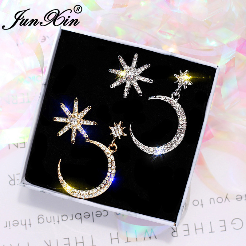 JUNXIN Girls Cute Star Moon Drop Earrings For Women White Gold Needles Rose Gold Color White Crystal Asymmetric Double Earrings