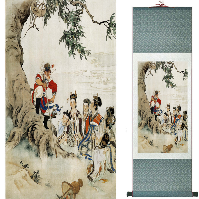 The monkey king caused havoc in heaven art painting silk scroll painting Monkey King Wreaks Havoc in Heaven painting 2018082443(China)
