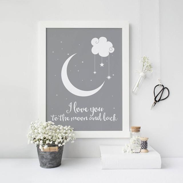 I Love U De Maan En Terug Klassieke Poster Canvas Schilderijen