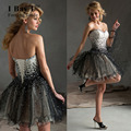 Bling Black Organza Skirt Evening Dresses Beaded Black Knee-length Mini Prom Dresses Homecoming Dress 2016 Short Prom Dresses