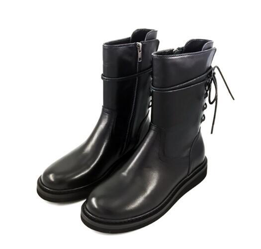 Drop Shipping Cheap High Quality Girls Pu Solid Black Round Toe Zipper Lace Up Back Mid calf High Top Flat Martin Short Boots