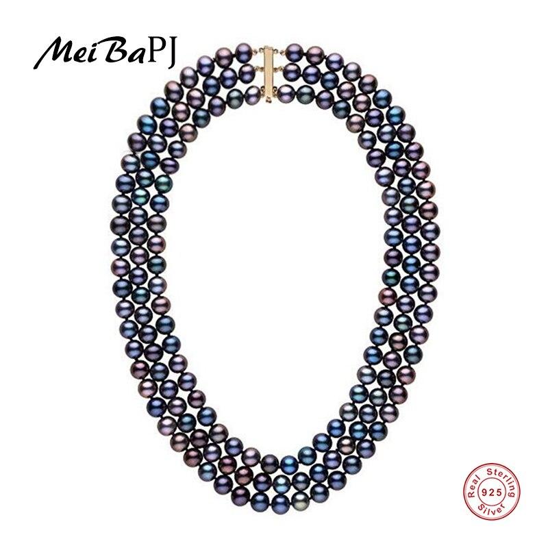 [MeiBaPJ] Trois couche Réel D'eau Douce Collier de Perles pour les Femmes Avec Réel 925 Argent Fermoir Partie Fine Jewelry