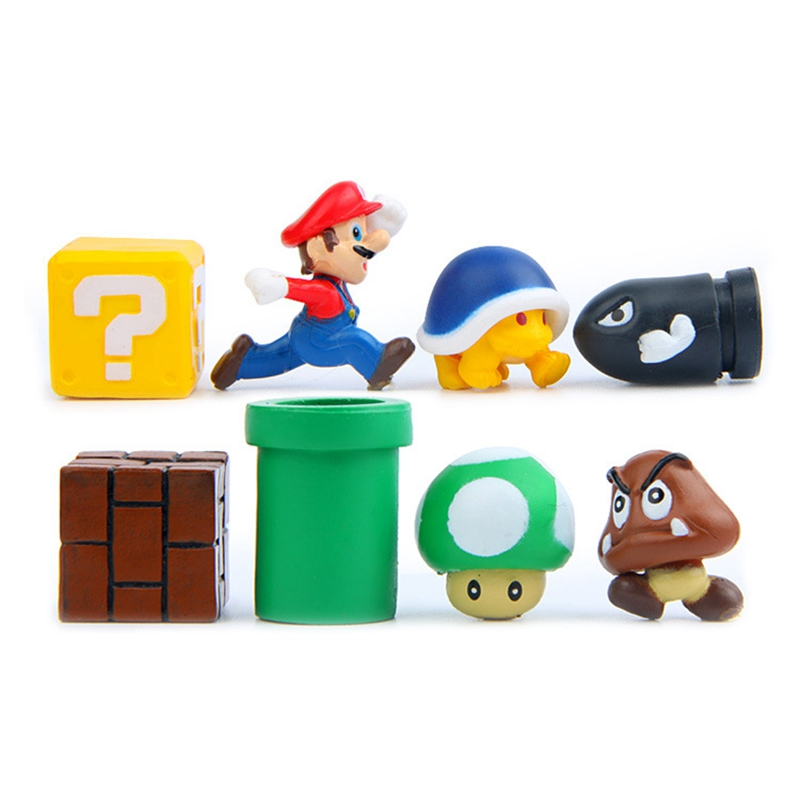 8pcs/set Mini Super Mario Bros Figure Mario Bullet Mushroom Tortoise Wall Well PVC Action Figure Model Toys DIY Decoration Gift