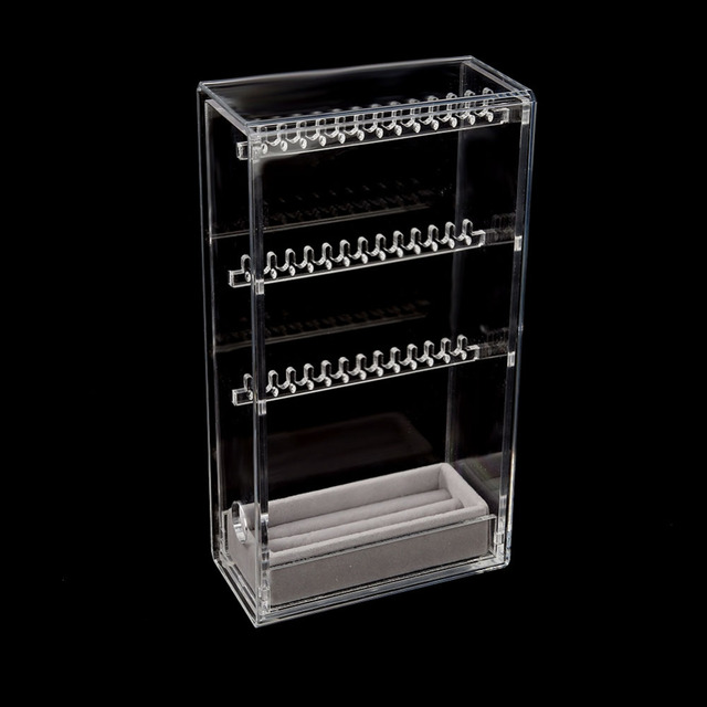 1d35cd479 Earrings Necklace Organizer Jewelry Hanger Storage Case Necklace Accessory  Rack Display Holder Spinning Rack Gifts Acrylic Box