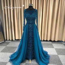 Leeymon 2019 New Arrival Heavy Beaded Long Sleeves Evening Dress Mermaid Elegant Sparkly Prom Gown