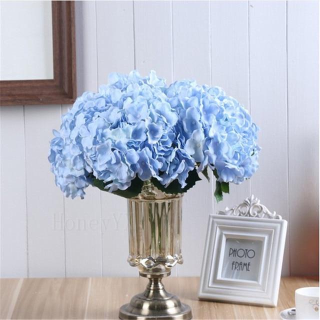 5 Heads Sky Blue Artificial Flower Hydrangea Bridal Bouquet Silk