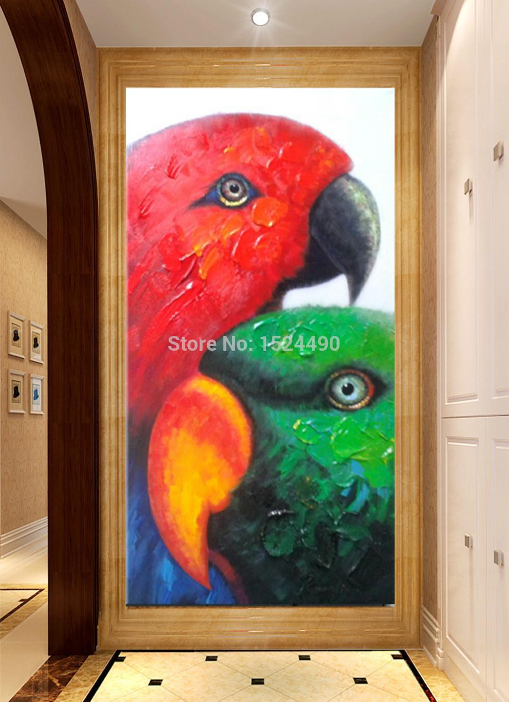 Livraison gratuite peint à la main animaux modernes coloré africain Lovebird peinture à l'huile sur toile Art mural peinture salon décor