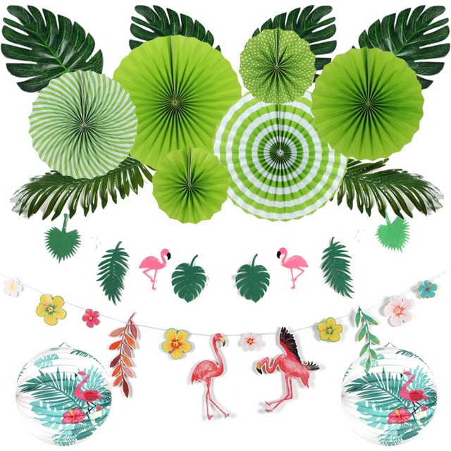 16pcs Flamingos Theme Hawaiian Party Decorations Summer Party
