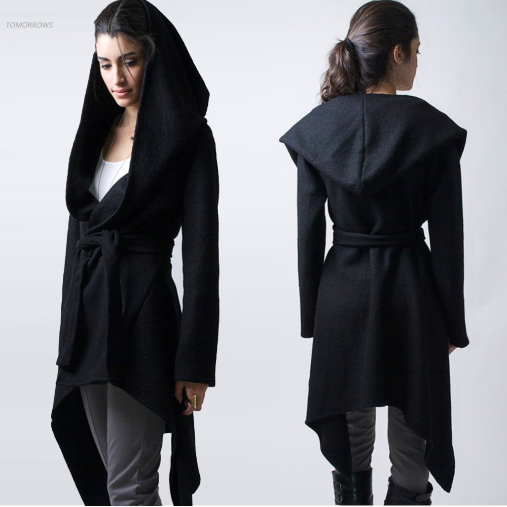 Women Casual Hooded Cardigan Wool Coat Fashion Autumn Winter Black ...