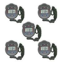5 adet El Dijital LCD Chronograph Spor Sayaç Kronometre Zamanlayıcı Durdur İzle