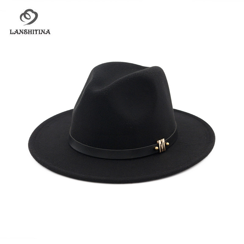 80dbd286 Autumn Winter Wool Jazz Cap Hat for Women M Trend Ladies Flat Brim Fedora  Hats Felt