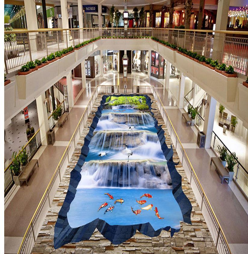 Cascade paysage grue poisson 3D étage autocollant plancher 3d papier peint salle de bains étanche papier peint