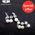New Fashion Jewelry Free Shipping Christmas Gift Statement Pearls Clip Earrings Pure Hand Elegant For Women Party Wedding