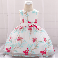 2019 Baby Girls Embroidery Flower Princess Dress Children Clothes Girls Ball Gown Bow Night Dress Infant Kids Formal Dresses New