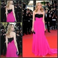 Red Carpet Dresses 2017 A-line Strapless Floor Length Pink Backless Cheap Famous Imitation Diane Kruger Celebrity Dresses