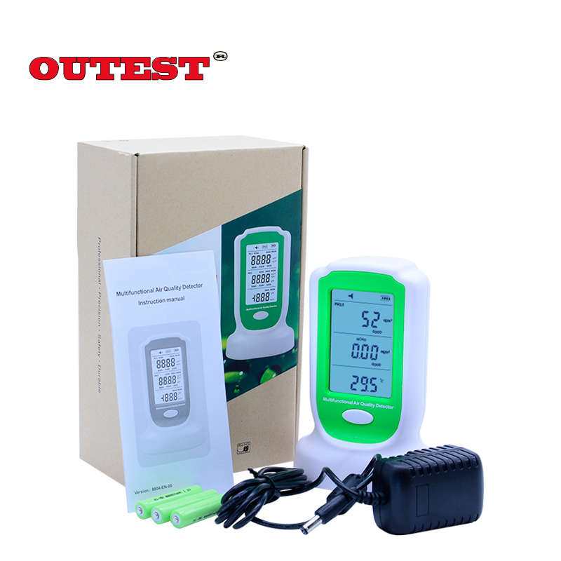 OUTEST GM8804 Digital HCHO PM2.5 PM10 air quality pollution detector formaldehyde monitor air quality detector 0-5000ug/m3 digital indoor air quality carbon dioxide meter temperature rh humidity twa stel display 99 points made in taiwan co2 monitor