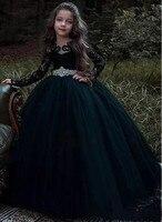 Navy Blue New Flower Girl Dresses Long Sleeve Lace Beaded Belt Girls Prom Party Dress Ball Gown Custom Made