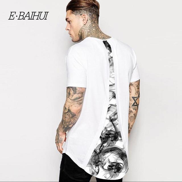 4a714bb21 E-BAIHUI 2019 summer style new fashion men's Long 3D print t shirt men hip