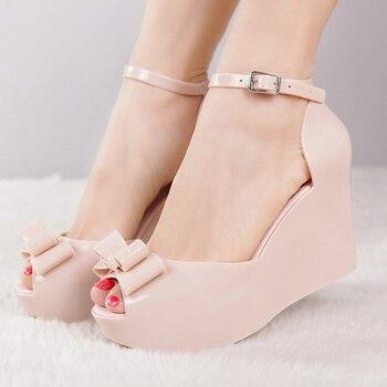 korean style summer peep toe roman sandals women bow fashion rain shoes wedges jelly sandals platform sandals summer flip flops римские сандали
