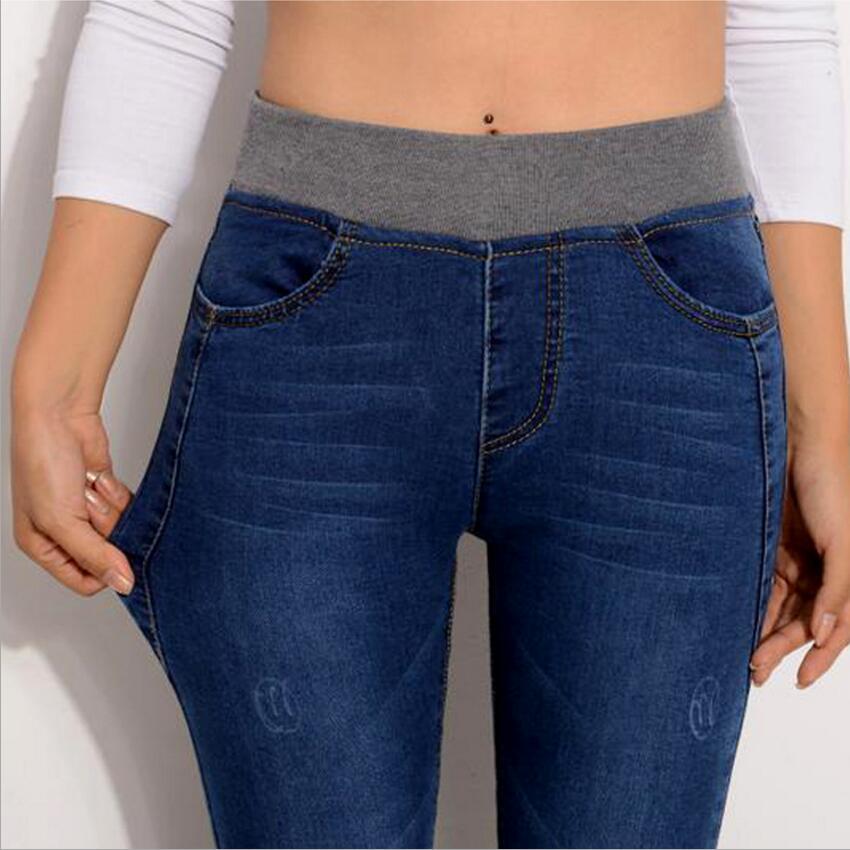 6 EXTRA LARGE   Jeans   Women Casual Pants Cotton High Waist   Jeans   Elastic Waist Pencil Pants Fashion Denim Trousers Plus Size 26-40