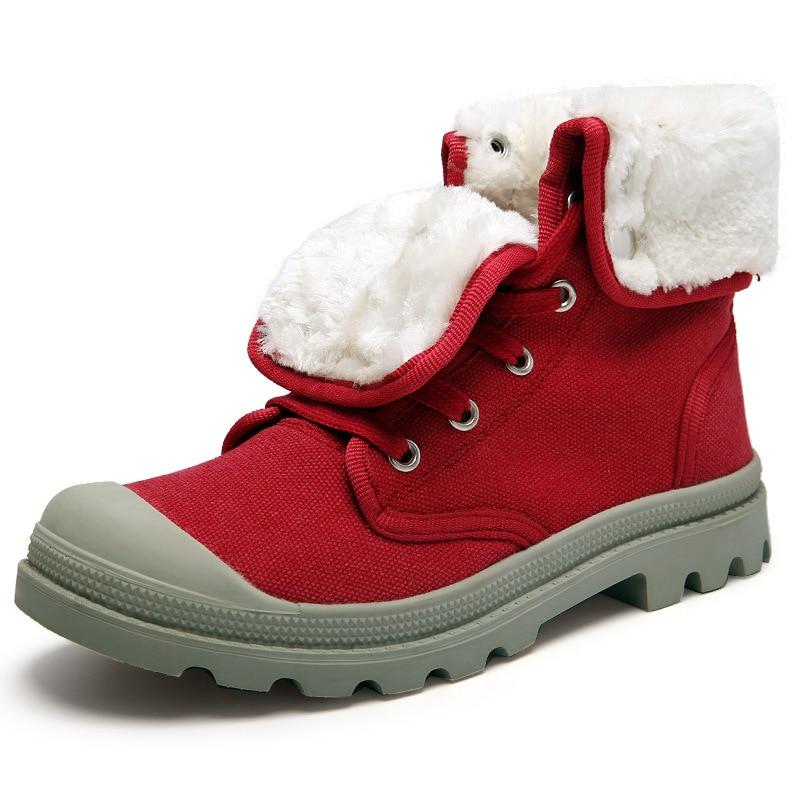 Women winter boots dr martens womens boots Canvas fur plush winter snow  shoes botas nieve truned over edge lace up snowboots faa1b45761b3