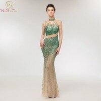 Green Evening Dress High Neck 2019 Long Mermaid Sexy Transparent Beading Crystals Sleeveless Floor Length Tulle Prom Dresses