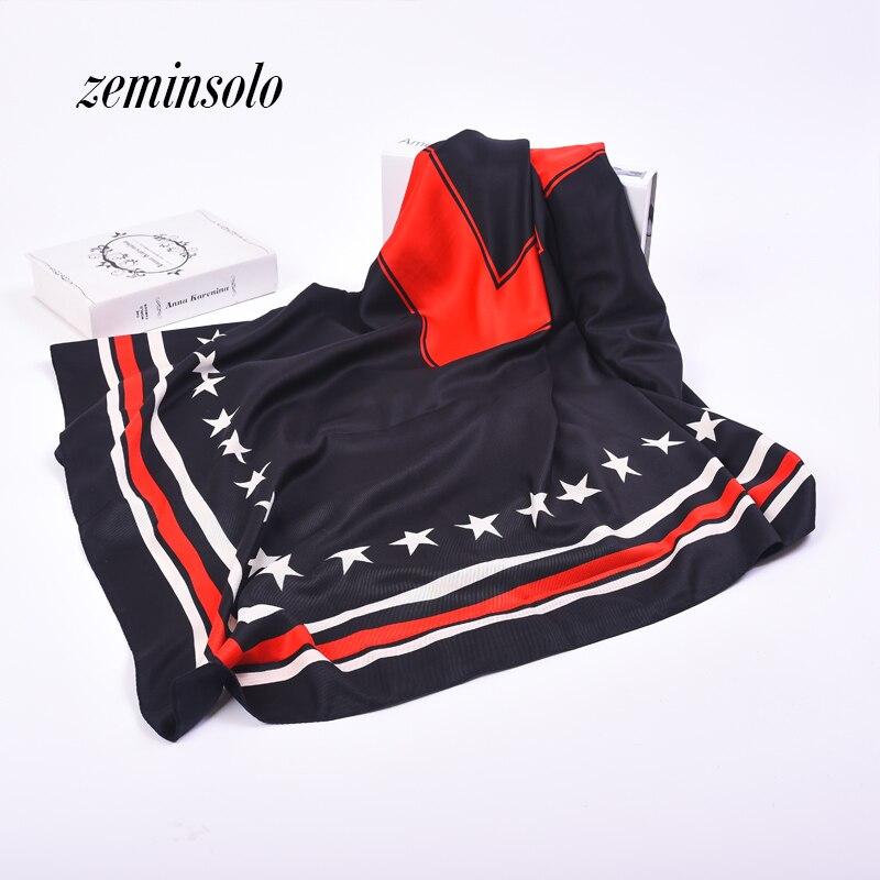 New Twill hedvábný šátek Euro styl ženy 5 hvězdičky tištěné šály pro ženy dámské saténové šály 130 * 130cm náměstí Pashmina Bandana