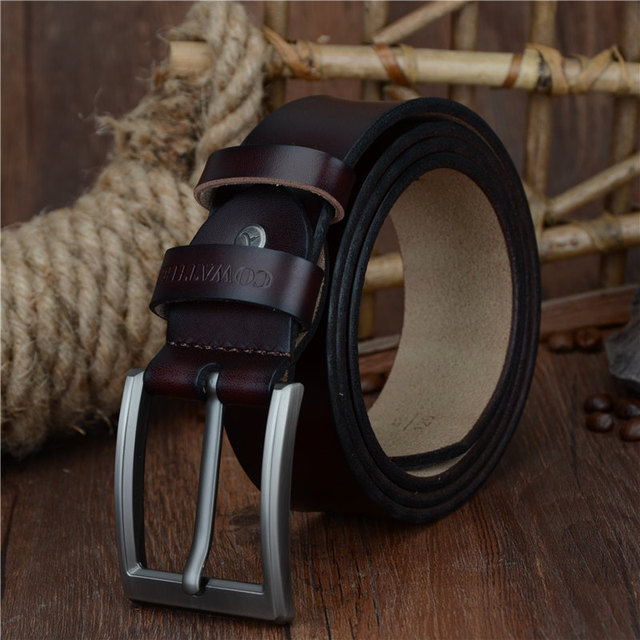COWATHER 2019 men belt cow genuine leather luxury strap male belts for men new fashion classic vintage pin buckle dropshipping 2