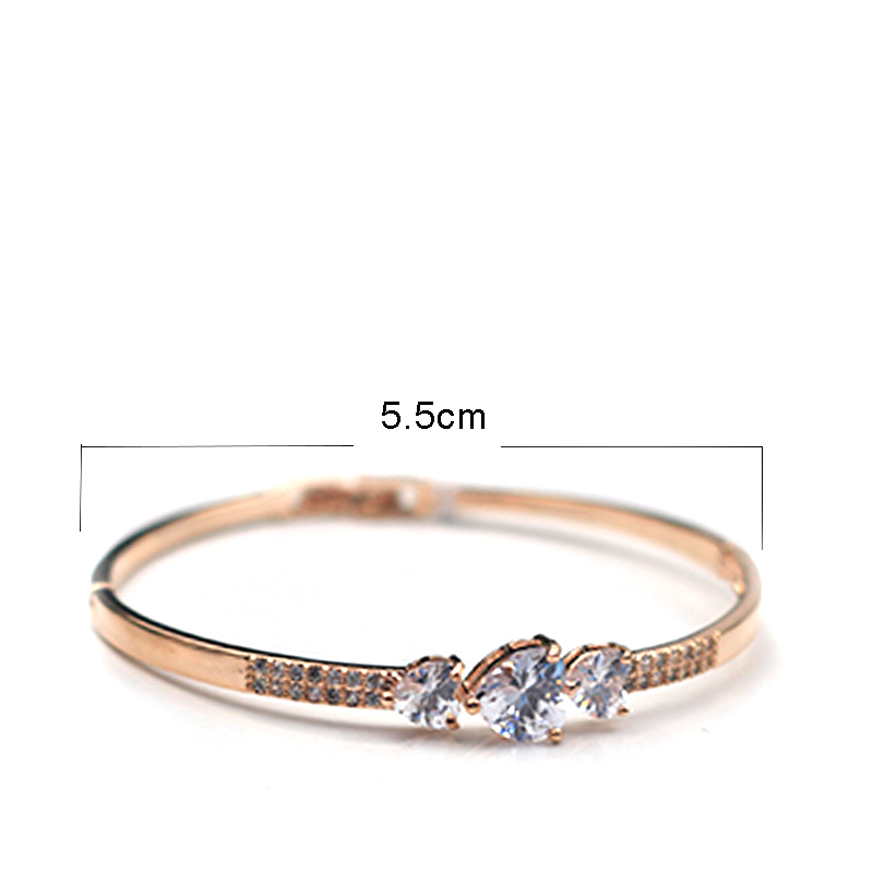 MADALENA SARARA AAAA Zircon Inlaid Bracelet Gold Tone Copper Bracelet Inlaid Three Heart Women Jewelry Luxury Easy Open in Bangles from Jewelry Accessories