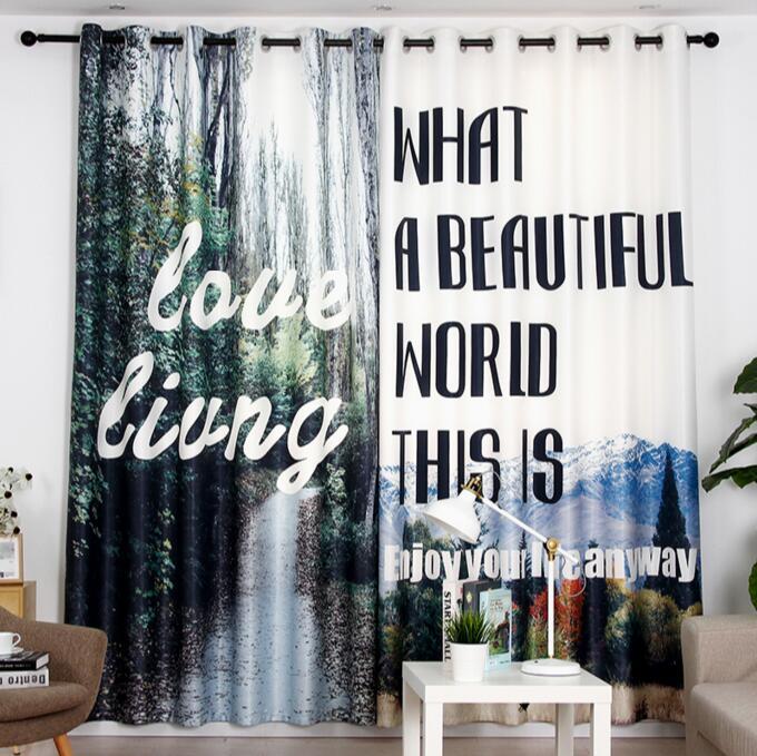 Chaud créatif 3D rideau neige montage impression Blockout Polyester Photo rideaux tissu pour chambre fenêtre chambre balcon baie