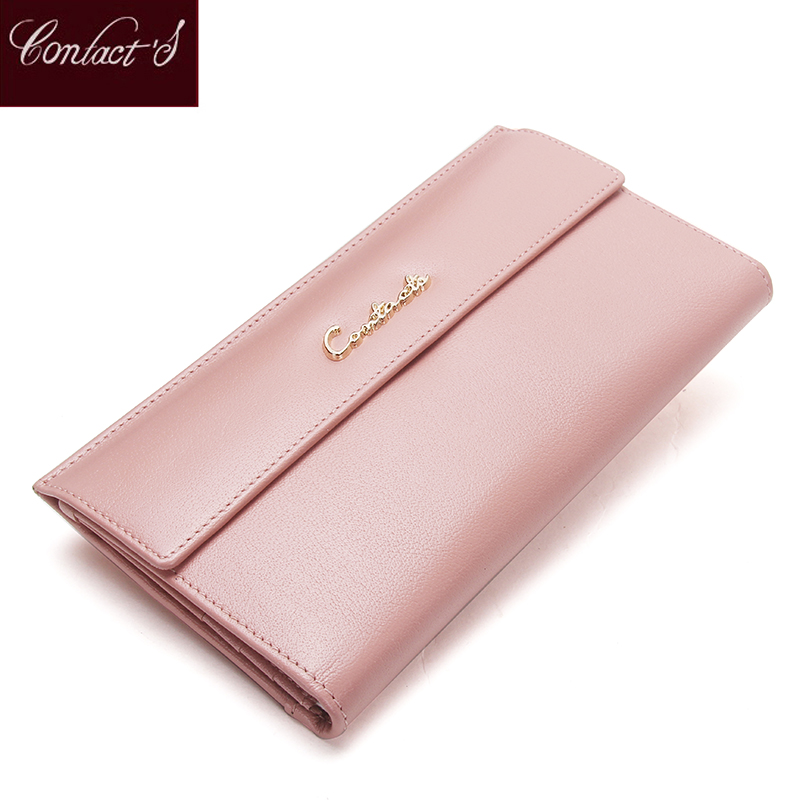 Contact's Luxury Genuine Leather Women Wallets Pink Long Ladies Purse With Zipper Coin Pocket Card Holder Female Clutch Bag