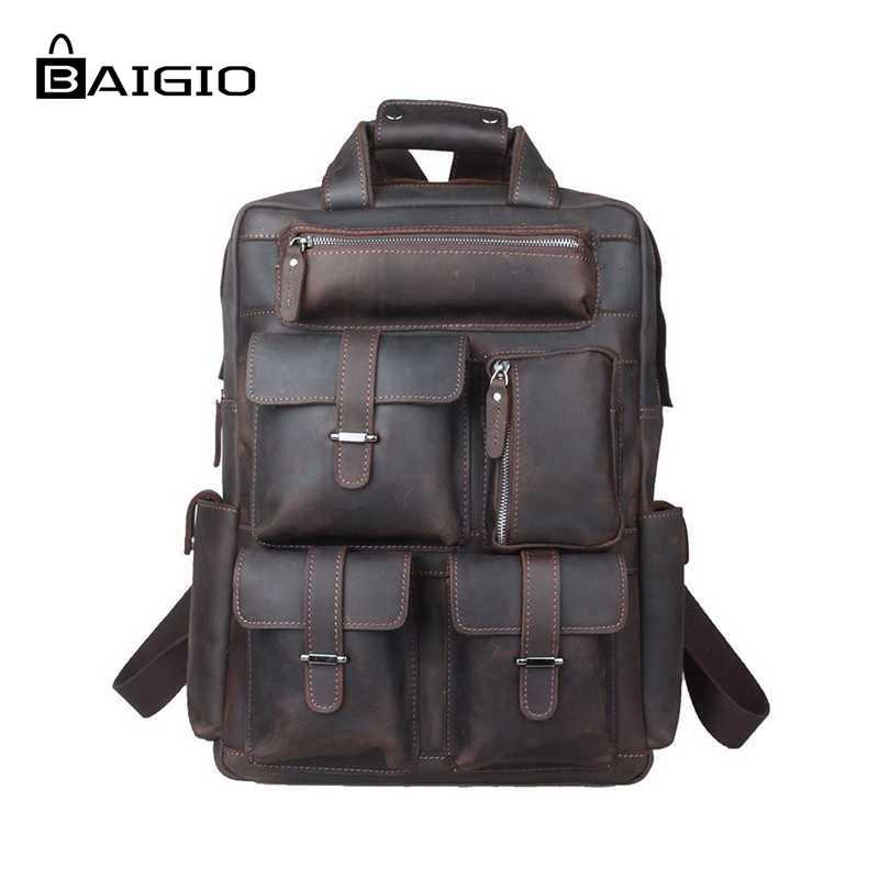 Baigio Men Vintage Genuine Leather Bag Fashion Backpack 17 Inch Laptop Multi Pockets HikinTravel Rucksack Shoulder Bag Mochila