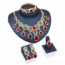 Perlas africanas joyería conjunto chapado en oro cristal austriaco parure collar anillo pendiente del perno prisionero de bijoux pulseras envío gratis