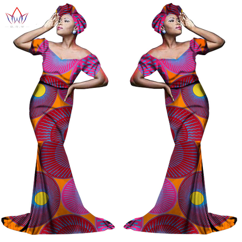 Африканский хлопчатобумажный материал Платья Для Женщин Дашики традиционная Анкара Мода Африка одежда с коротким рукавом Анкара платья WY963