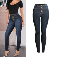 Skinny Pencil Pants Full Length Denim High Waist Female Jeasn Femme Multi Button Stretchy Sexy Butt Lift Thickening Jeans Women