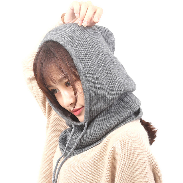 Women Hooded Scarf Female Winter Hats For Women Cashmere 2018 New Fashion Autumn Wool Knitted Warm Wraps Solid Crochet Scarves