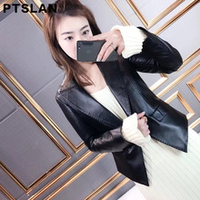 Ptslan 2017 Women'S Genuine Leather Jacket Classic Lady'S Real Lambskin Jackets Spring Fall