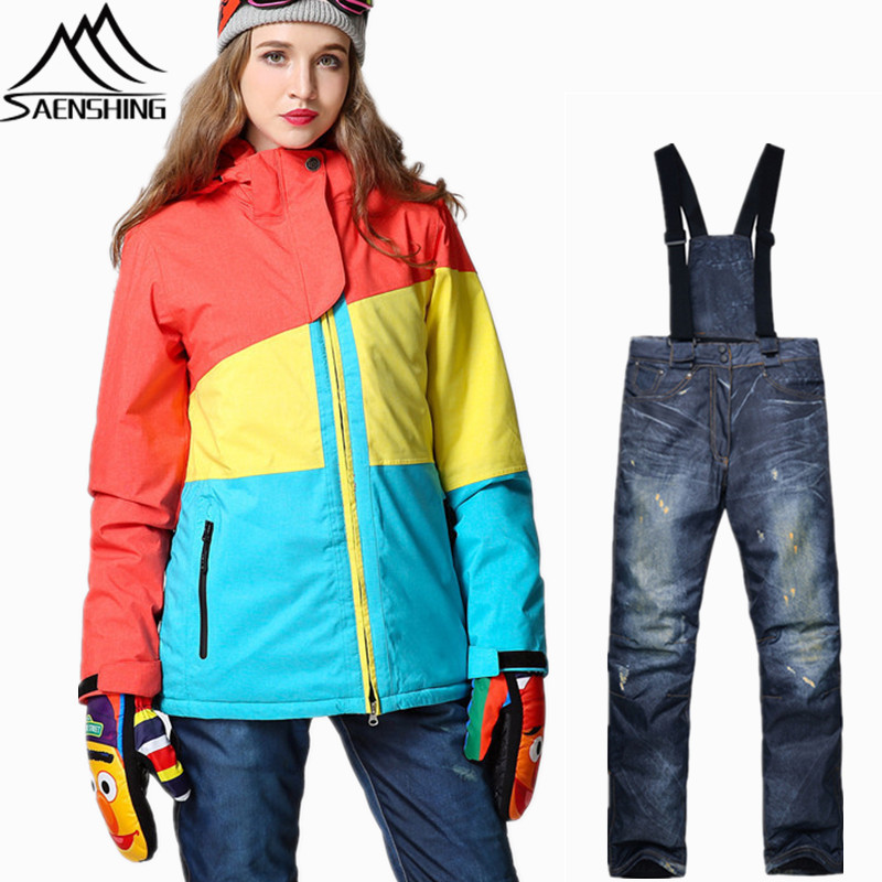 SAENSHING Snowboarding Suit Women Waterproof Ski Jacket Snowboard Pant Thermal Breathable Ladies Ski Suit Sport Outdoor Skiing