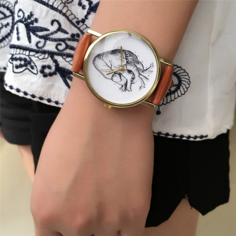 Famous Leopard Cool White Black Strap Fashion Cat Glass Dial Leather Watch Casual Women Dress Carton Quartz Watch