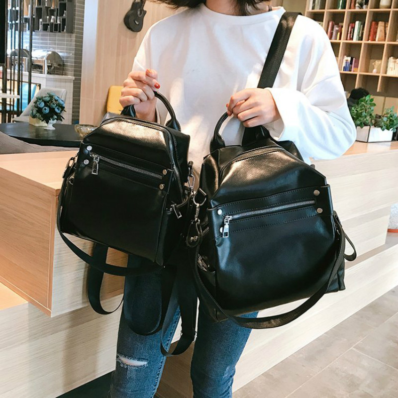 Modis Bags Women For Backpack Female Schoolbag Backpacks Simple Soft Leather Fashion Trend High Capacity Bag Brwon Black 2019