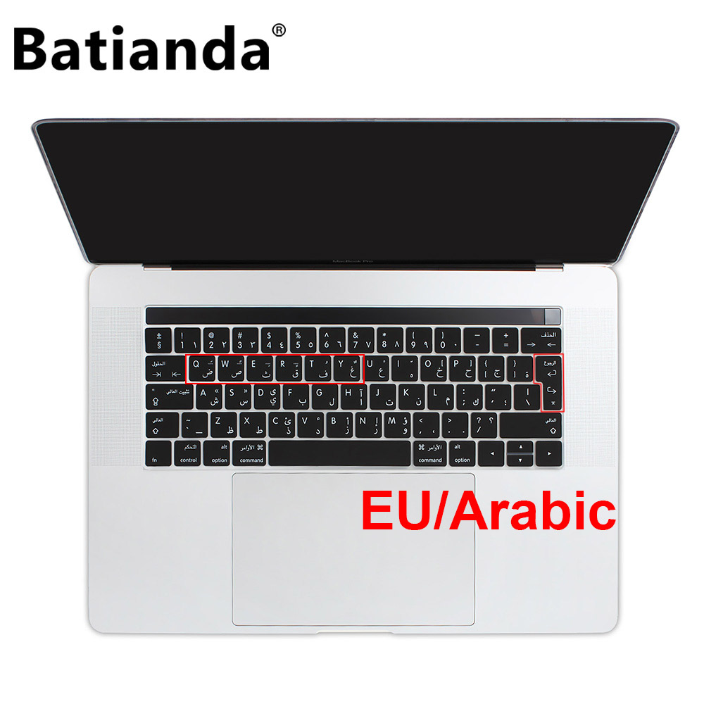 Euro Version Arabic Silicone Keyboard Cover Skin for Macbook 2016 2017 2018 2019 Pro 13 15 Retina & Touch Bar Sticker Key Skin image