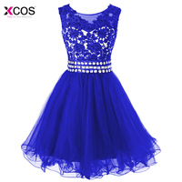2018 Royal Blue Lace Appliques Short Homecoming Dress Tulle Knee Length Rhinestone Beaded Ruffle Mini Prom Graduation Party Gown