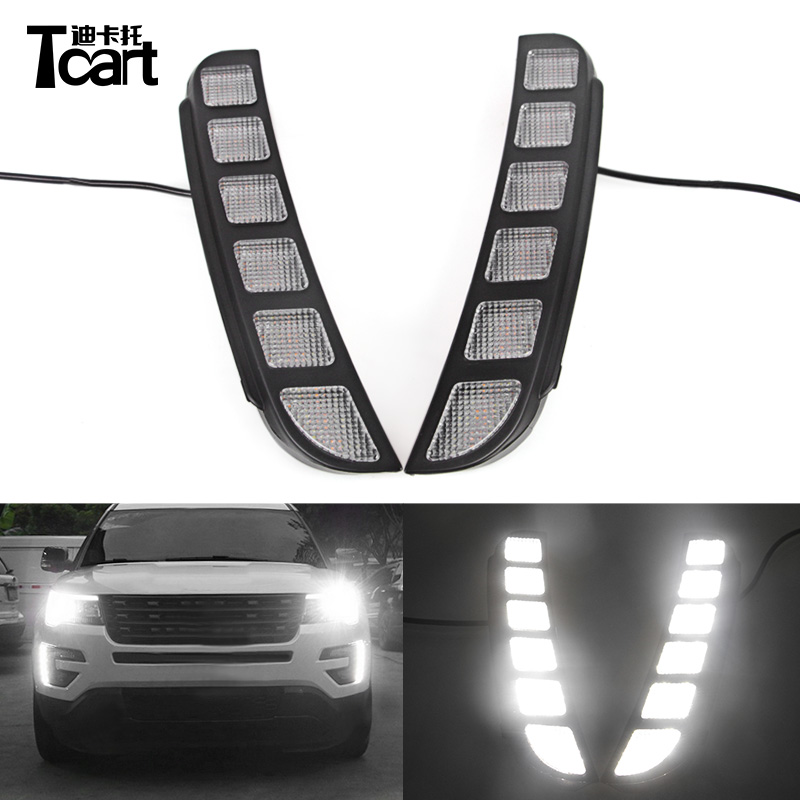 Tcart 1Set Waterproof Car DRL White LED Daytime Running Lights For Ford Explorer 2016 2017 Auto Led Front Headlamps Accessories tcart waterproof abs cover car led drl led daytime running light for ford explorer 2016 2017