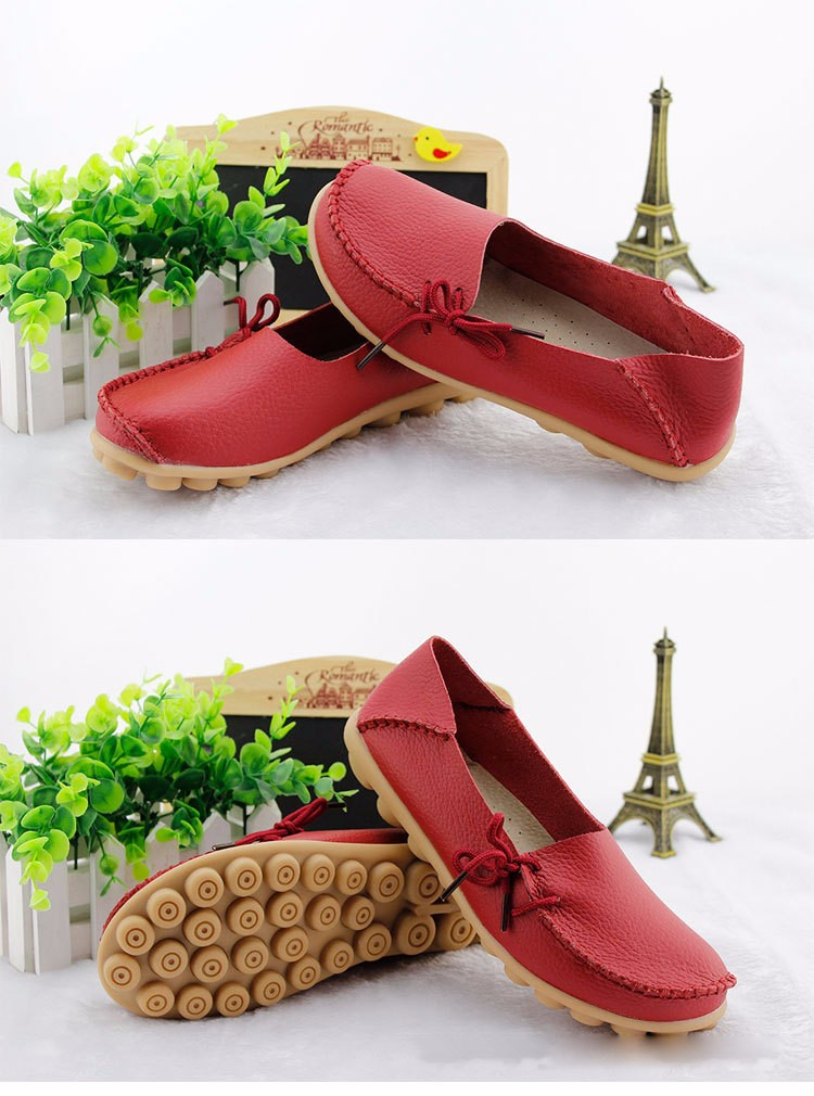 2016 New Real Leather Woman Flats Moccasins Mother Loafers Lacing Female Driving Casual Shoes In 16 Colors Size 34-44 ST179 (12)