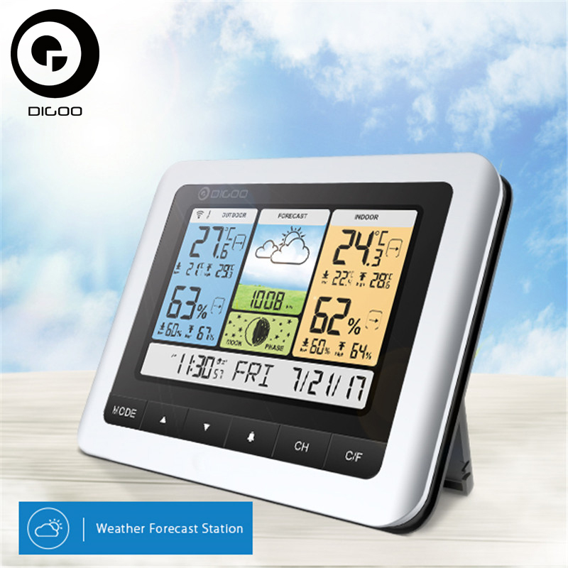 Digoo Thermometer Hygrometer DG-TH8888Pro Wireless Sensor Weather Station Home Thermometer USB Outdoor Forecast <font><b>Clock</b></font>